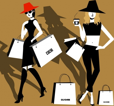 fashion background black design shopping lady icons