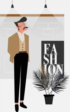 fashion background elegant man icon classical design