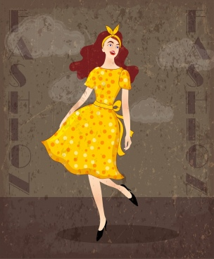 fashion background lady icon colored retro design