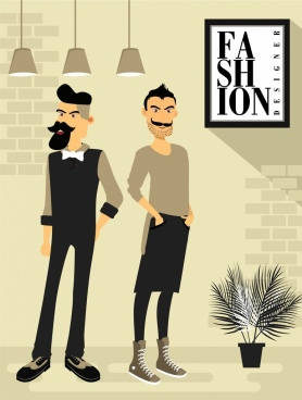 fashion background posing men icons cartoon characters