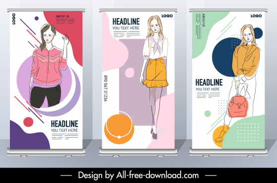 fashion banner handdrawn female model sketch standee design