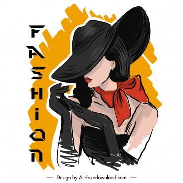 fashion banner template glamour lady sketch handdrawn design