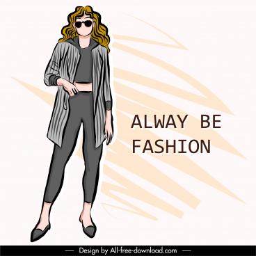 fashion banner template handdrawn lady model sketch
