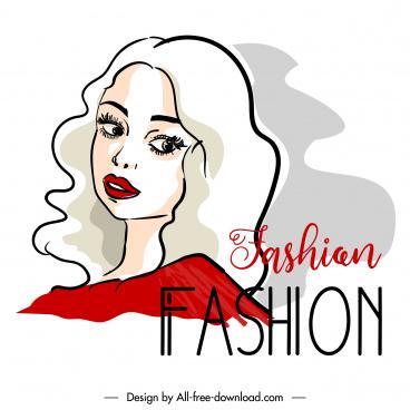 fashion banner template handdrawn lady portrait sketch