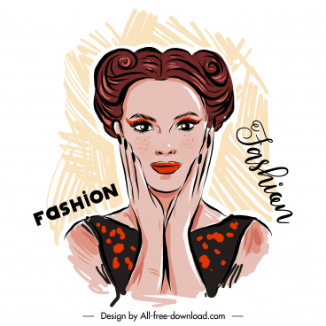 fashion banner template woman portrait handdrawn design