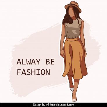 fashion banner young lady sketch handdrawn cartoon