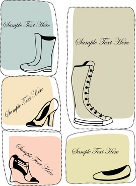 fashion boots card vector illustration silhouettes
