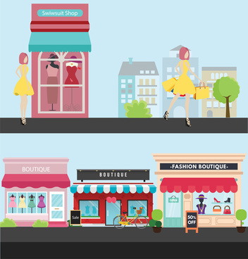 fashion boutiques vector design with flat colored style