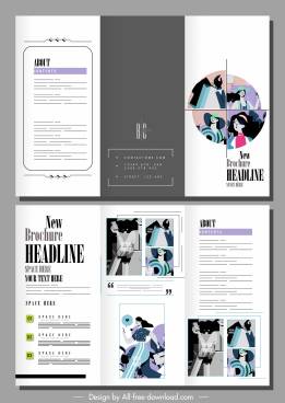 fashion brochure templates bright classic design shoppers sketch