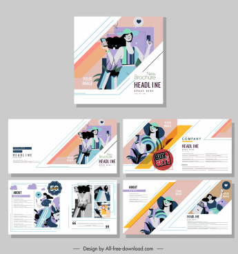fashion brochure templates colorful classic decor model sketch