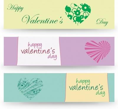 valentine banner templates flat hearts grunge rays decor