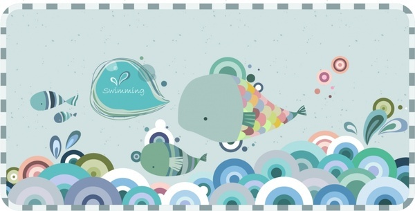 card cover template sea fishes icons flat decor