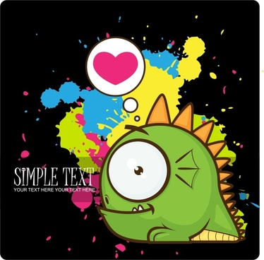 fashion cartoon dragon splash vector