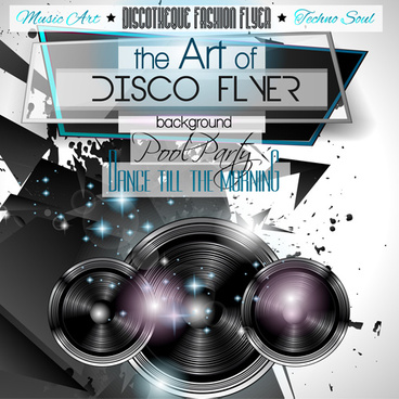 fashion club disco party flyer template vector