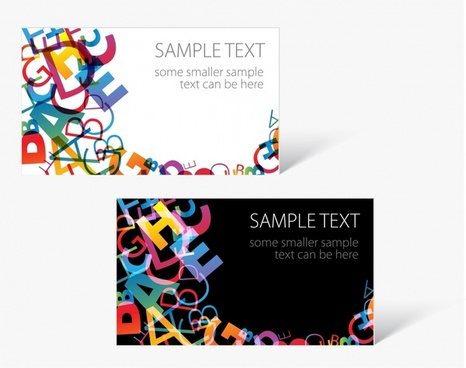 card templates colorful texts decor messy design