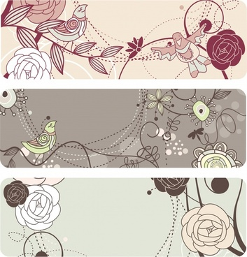 nature background templates handdrawn flora birds sketch
