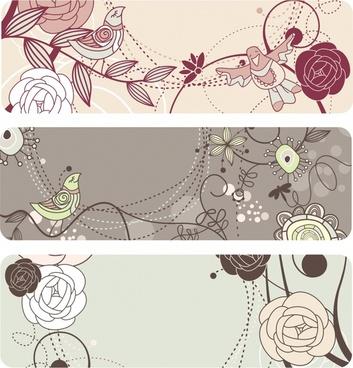 nature background templates handdrawn flora birds sketch