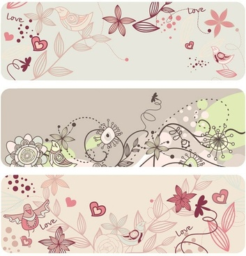fashion cute bird flowers vector 2