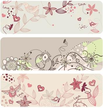 fashion cute bird flowers vector 2