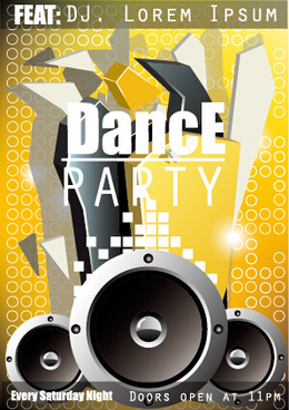 fashion dance party flyer vector