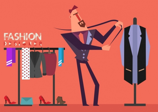 fashion design background male suite clothes icons