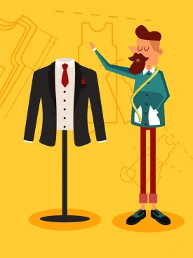 fashion design background man suit icon colored cartoon