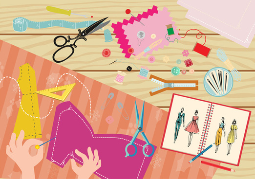 fashion design job vector illustration with tailor tools