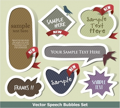 fashion dialog label stickers vector