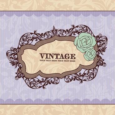 decorative cover template elegant retro symmetric frame