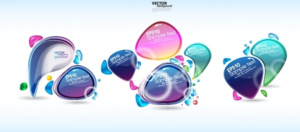 bubbles design elements shiny colored deformed shapes