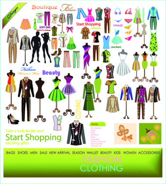 fashion elements and clothing vector