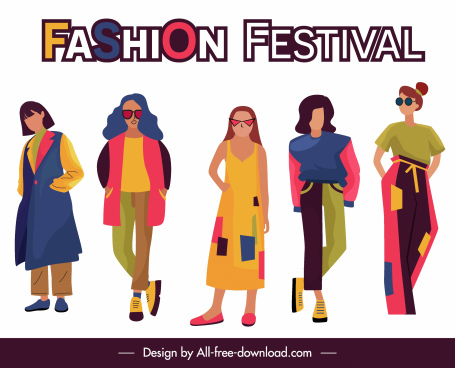 fashion festival banner female models sketch cartoon characters