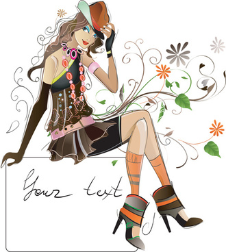 fashion girl elements vector set