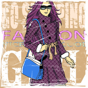 fashion girl grunge background vector