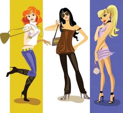 fashion girls icons colored cartoon characters