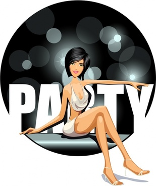party banner girl icon bokeh light cartoon character