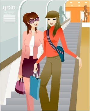 fashion background young women stairway icons colored cartoon