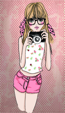 fashion girl with camera vector