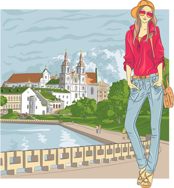 fashion girl with urban life vector