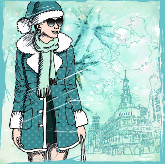 fashion girl with winter background vector