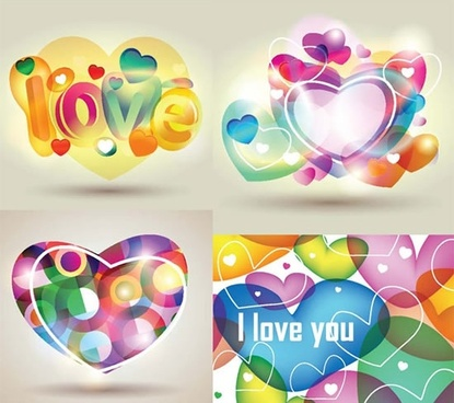 love background templates colorful dynamic hearts layout