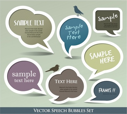speech bubble sticker templates flat elegant papercut shapes
