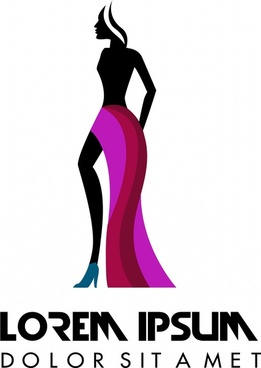 fashion logo design with model in silhouette style