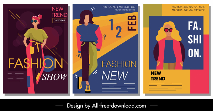 fashion magazine templates colorful design cartoon characters sketch