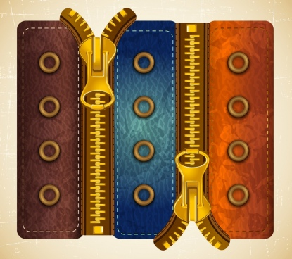 fashion material template zipper icon leather surface decor