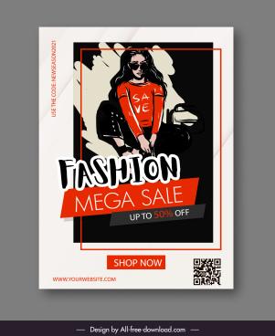 fashion mega sale banner dark classical handdrawn sketch