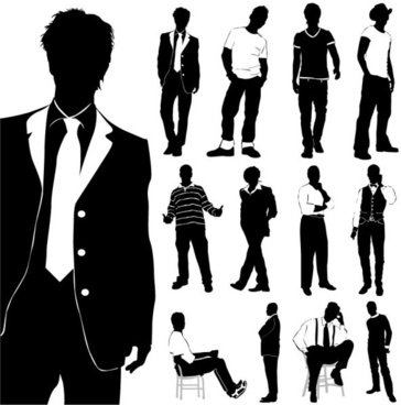 fashion men silhouettes vector