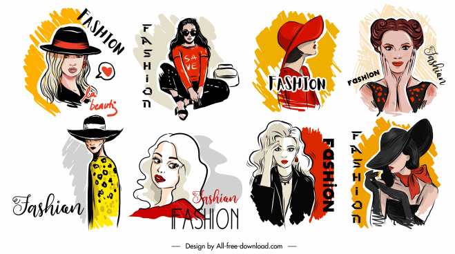 fashion model icons colored handdrawn cartoon sketch