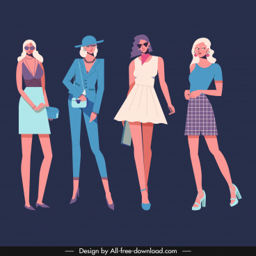 fashion models icons colored cartoon characters