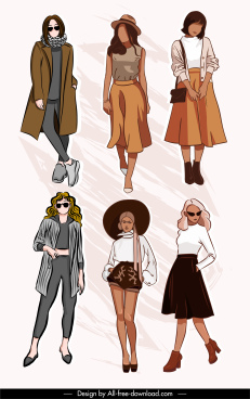 fashion models icons handdrawn cartoon sketch